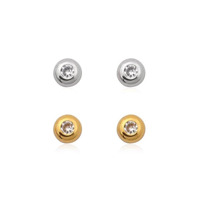 Zilver en goud op zilver setje oorknopjes witte zirkoon