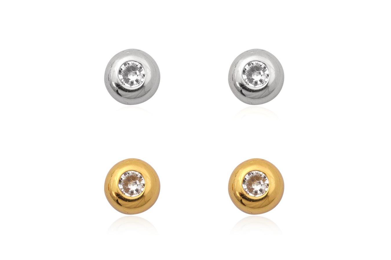 Zilver en goud op zilver setje oorknopjes witte zirkoon-1