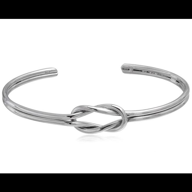 Zilveren knoop klemarmband