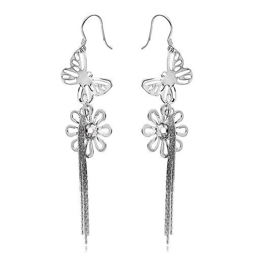 ZilverVoorJou Zilveren vlinder bloem oorhangers