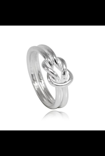 Zilveren knoop infinity ring