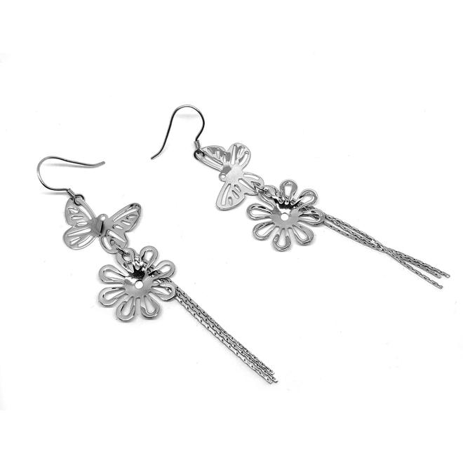 Zilveren vlinder bloem sier oorhangers