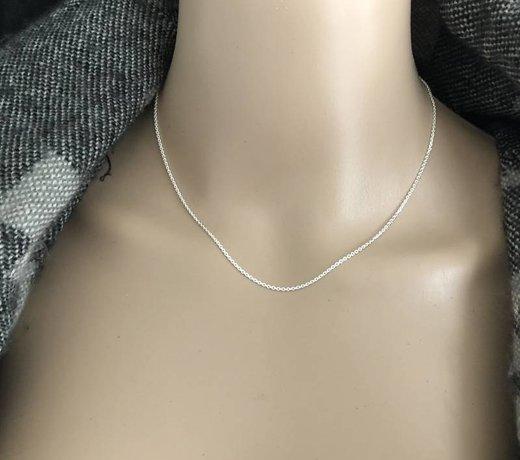 Echt zilveren lengte ketting van 40 cm