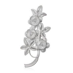 ZilverVoorJou Zilveren bloemen broche