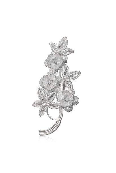 Zilveren bloemen broche