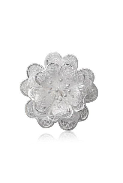 Zilveren sier bloem broche