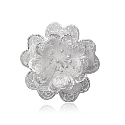 ZilverVoorJou Zilveren sier bloem broche
