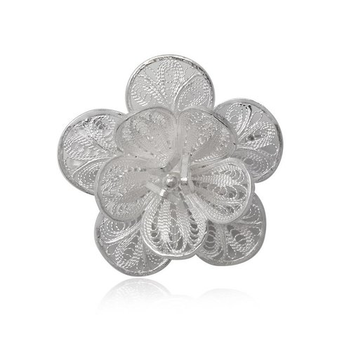 ZilverVoorJou Zilveren bloemetje broche