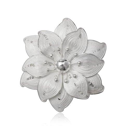 ZilverVoorJou Zilveren bloem broche