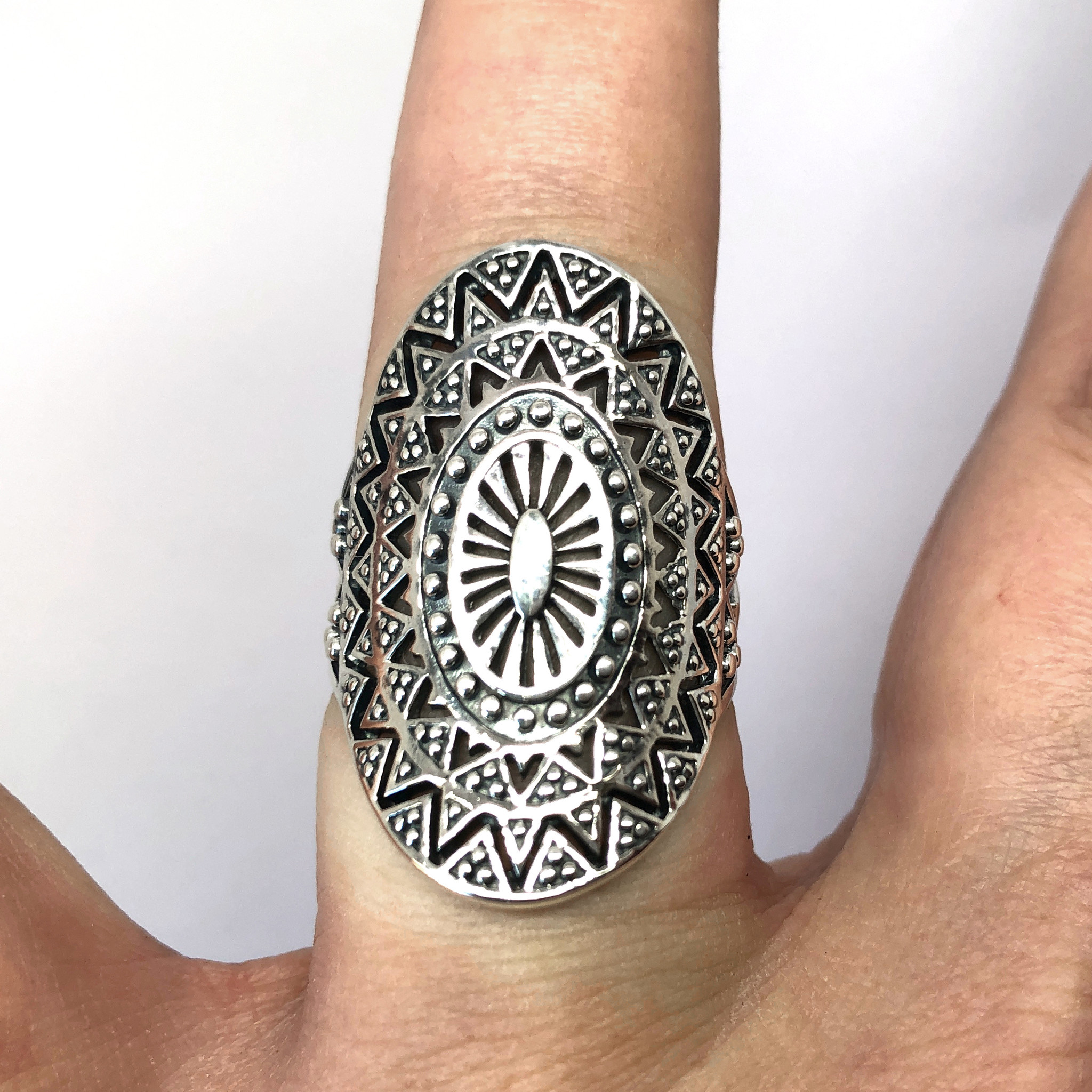 Zilveren mandala zon ring-3
