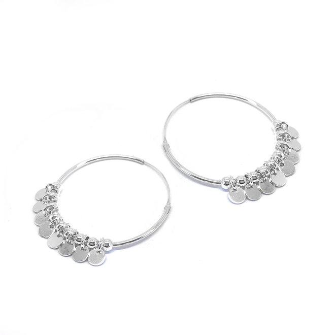 Zilveren disc oorringen creolen