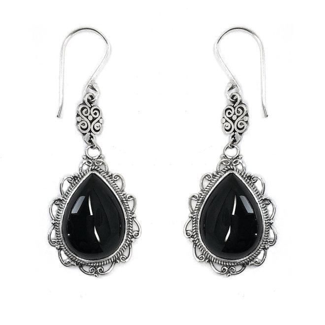 Zilveren handgemaakt zwarte agaat druppel oorhangers