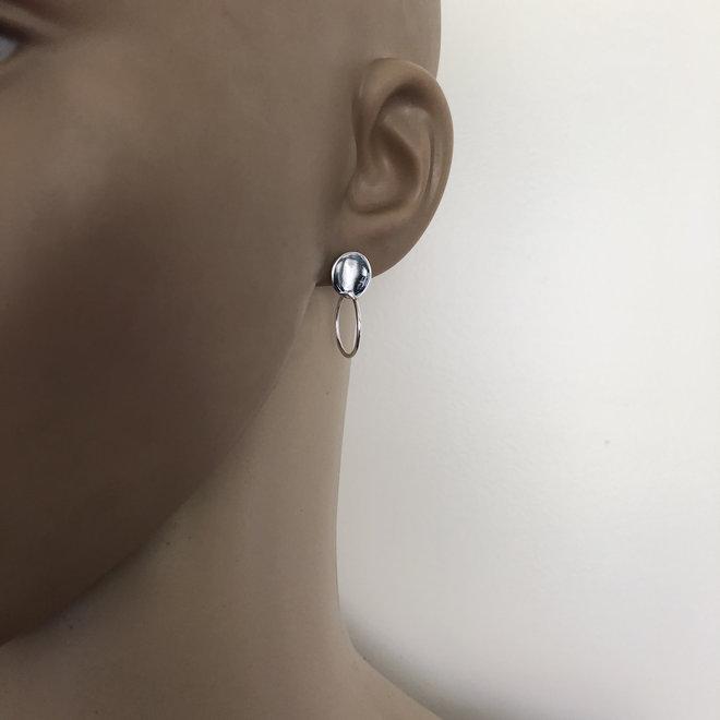 Zilveren cirkel disc oorsteker met ringetje
