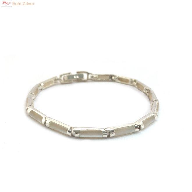 Zilveren armband witte staaf parelmoer