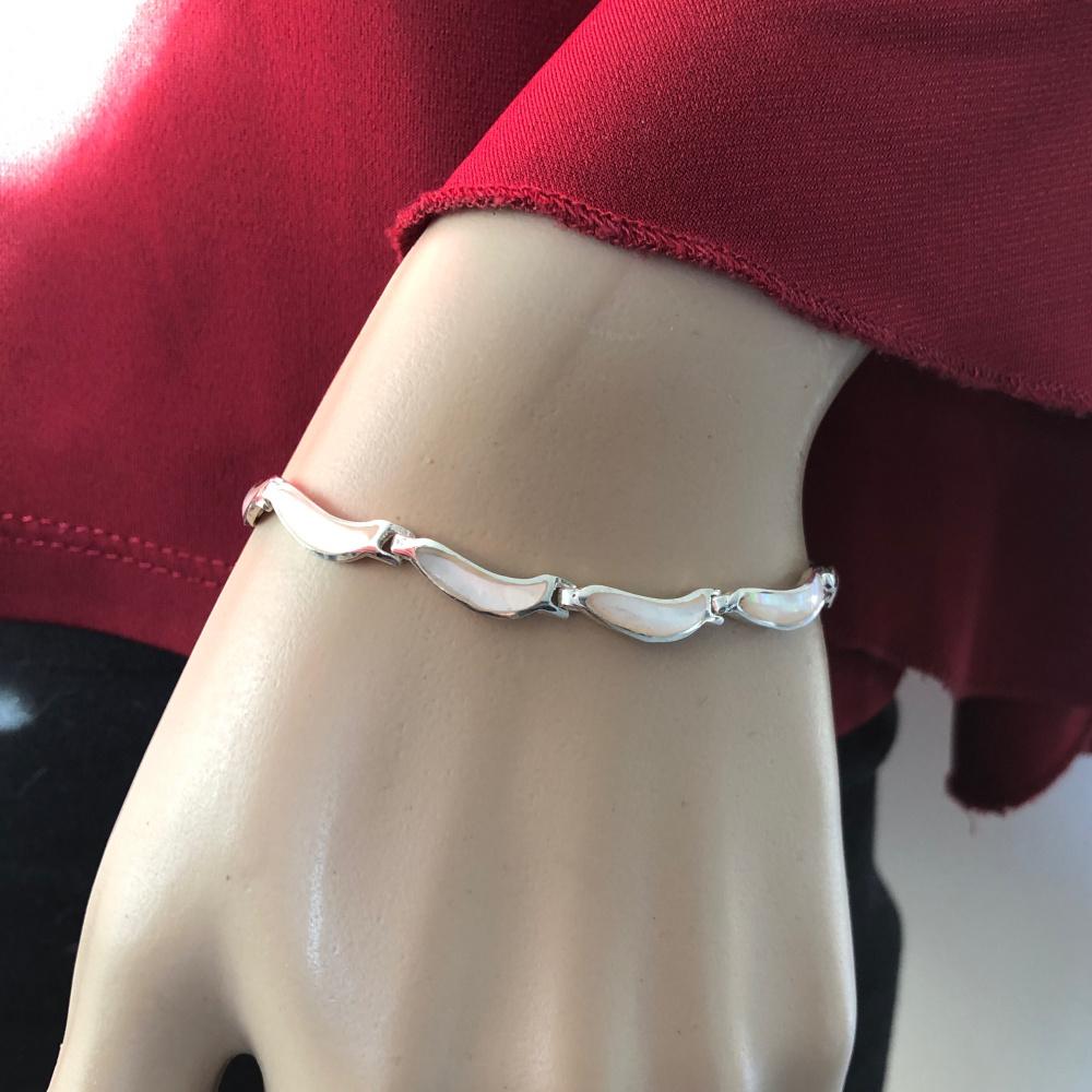 zilveren armband witte wave parelmoer 18 cm-2