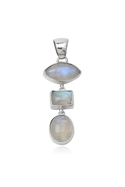 Zilveren 3 maanstenen kettinghanger