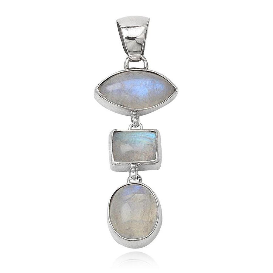 Zilveren 3 maanstenen kettinghanger-1
