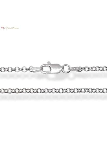 Zilveren rolo jasseron ketting 70 cm