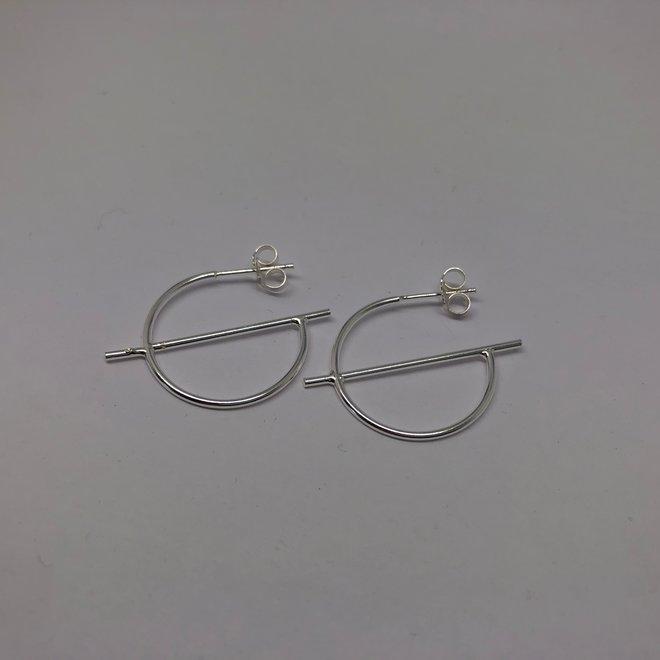 Zilveren oorringen steker staaf