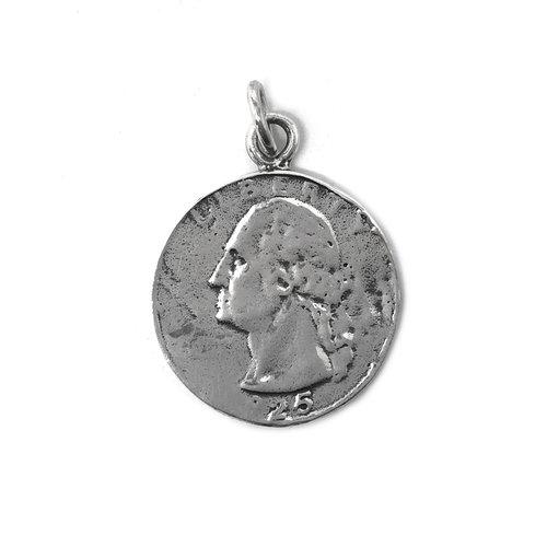 ZilverVoorJou Zilveren Quarter dime dollar munt kettinghanger