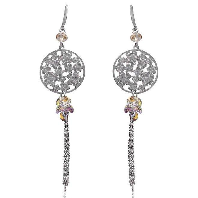Zilveren oorhangers lang crystal moonlight