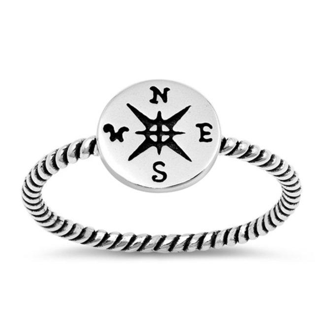 Zilveren windroos kompas ring
