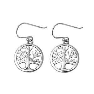 ZilverVoorJou Zilveren tree of life levensboom oorbellen