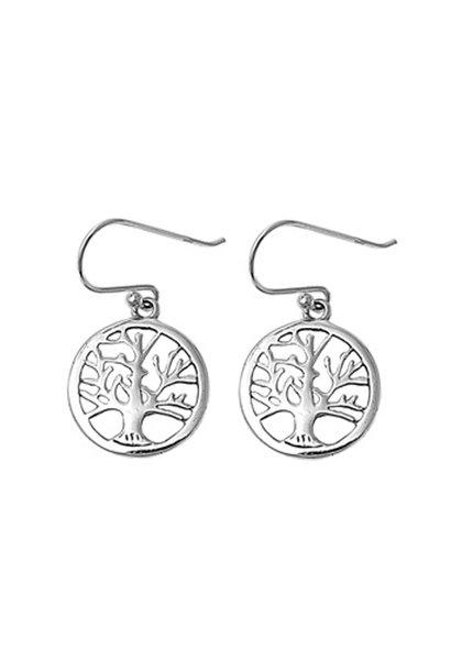 Zilveren tree of life levensboom oorbellen