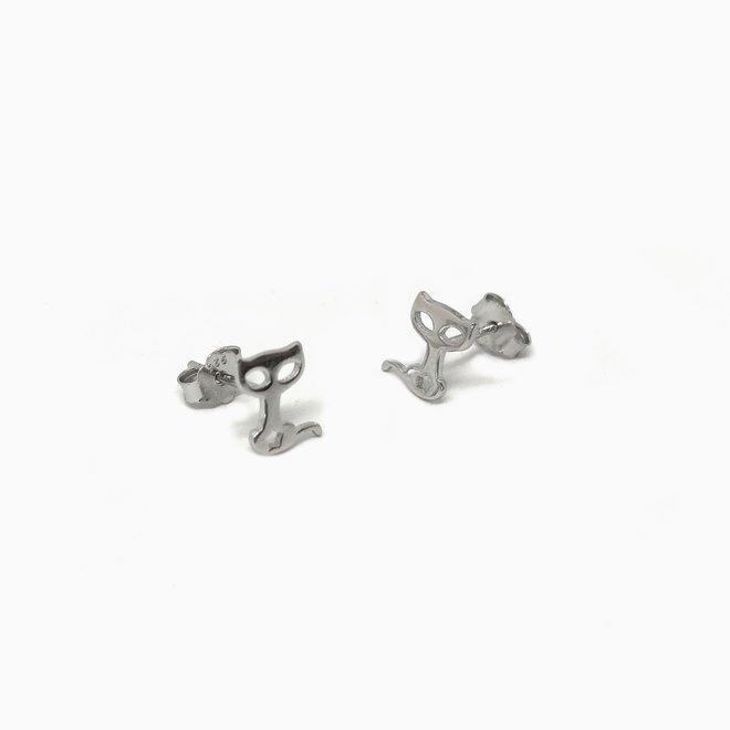 zilveren kleine kat poes oorstekers studs