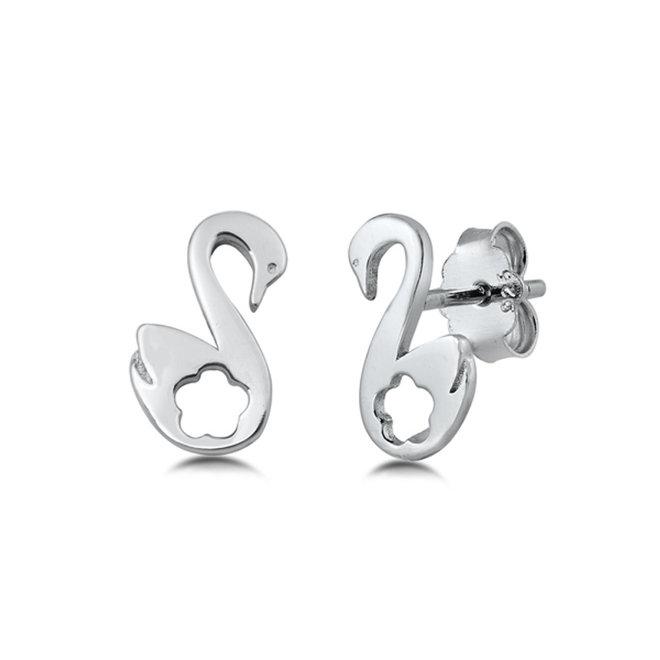 Zilveren kleine zwaan oorstekers studs