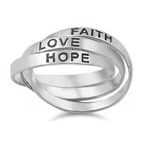 Zilveren 925 trinity Love Hope Faith ring