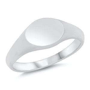 ZilverVoorJou Zilveren smalle hoogglans zegelring