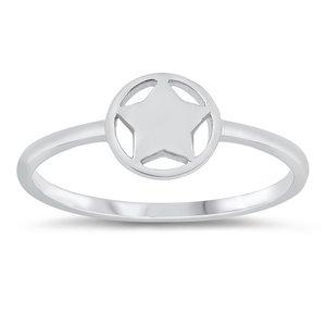 ZilverVoorJou Zilveren smalle cirkel ster ring