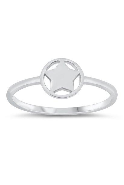Zilveren smalle cirkel ster ring