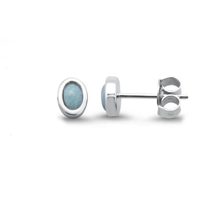 Zilveren larimar oorstekers