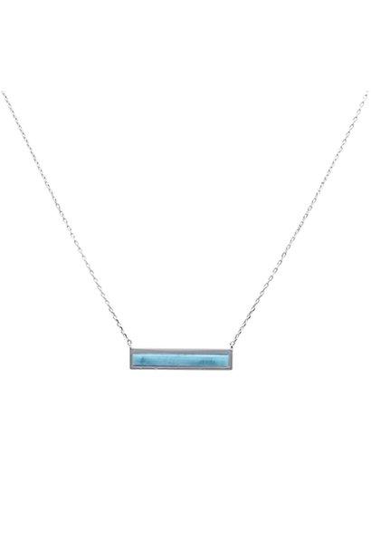 Zilveren design larimar ketting