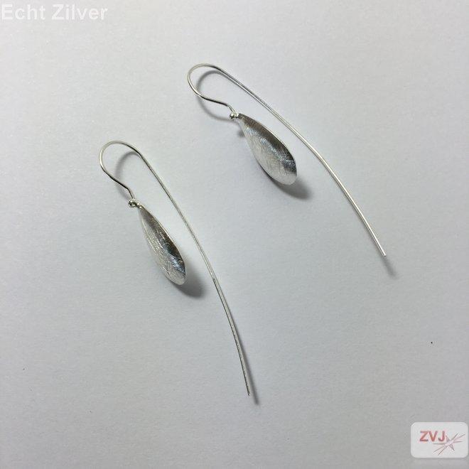 Mat zilveren druppel threader oorbellen