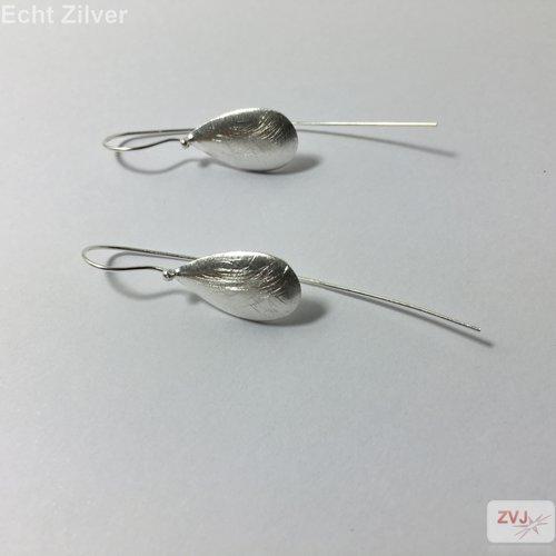 ZilverVoorJou Mat zilveren druppel threader oorbellen