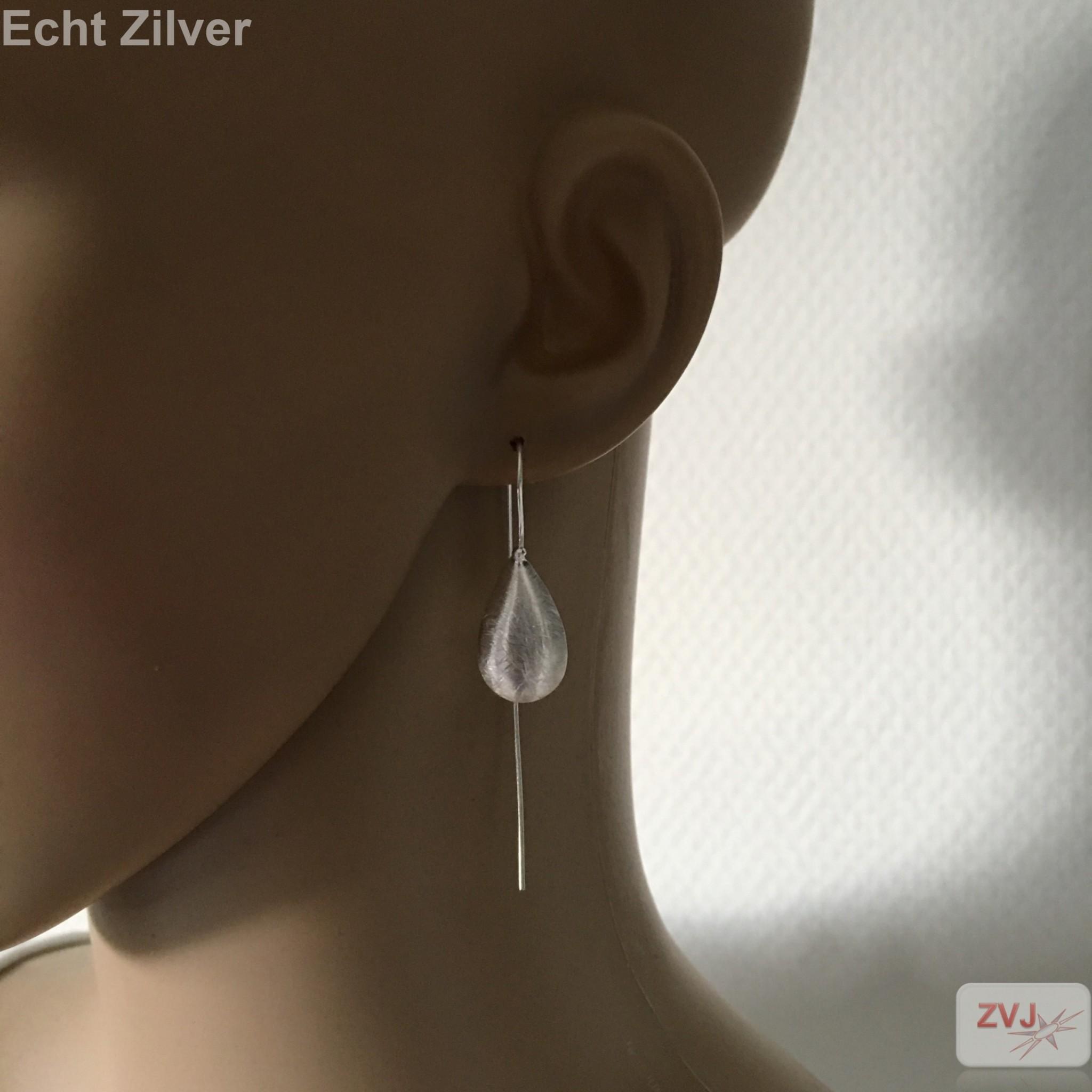 Mat zilveren druppel threader oorbellen-2