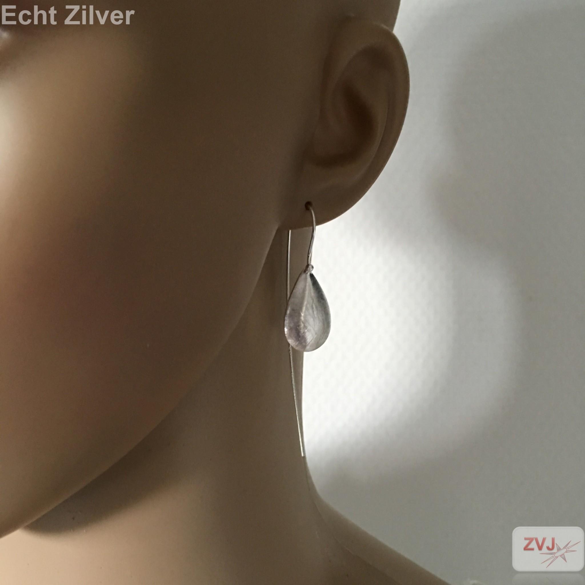 Mat zilveren druppel threader oorbellen-5