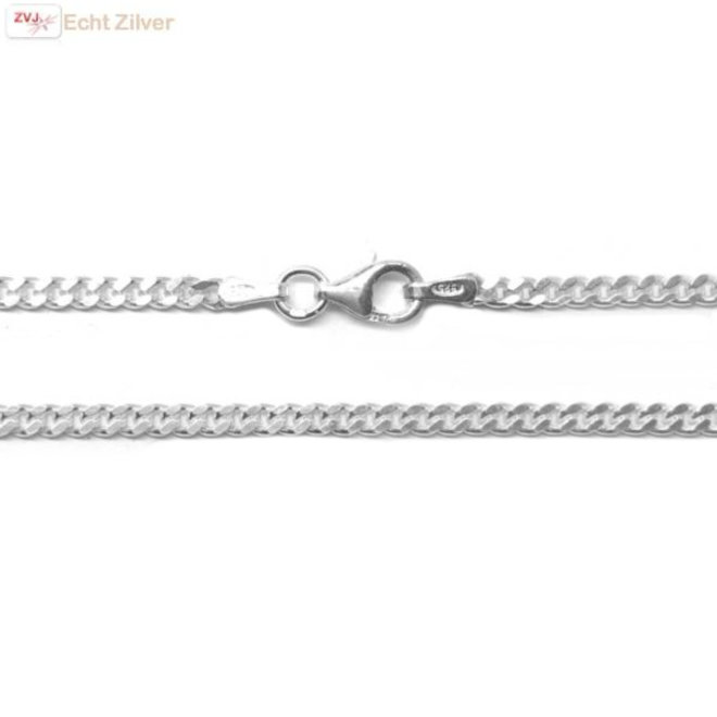 Zilveren gourmet ketting 60 cm 2,4 mm breed