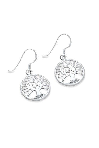Zilveren tree of life levensboom oorhangers