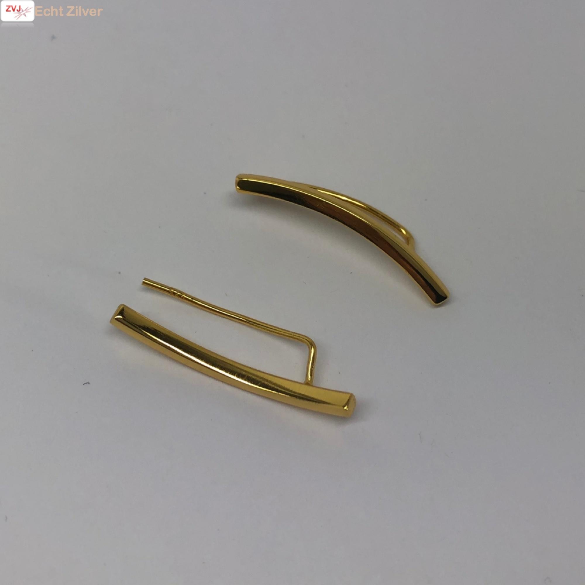 Goud op zilver strakke ear cuff oorklimmers-3