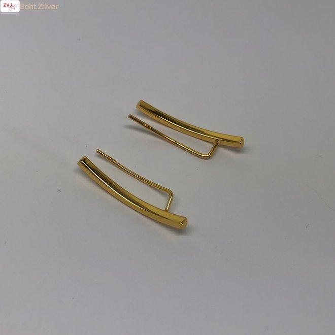 Goud op zilver strakke ear cuff oorklimmers