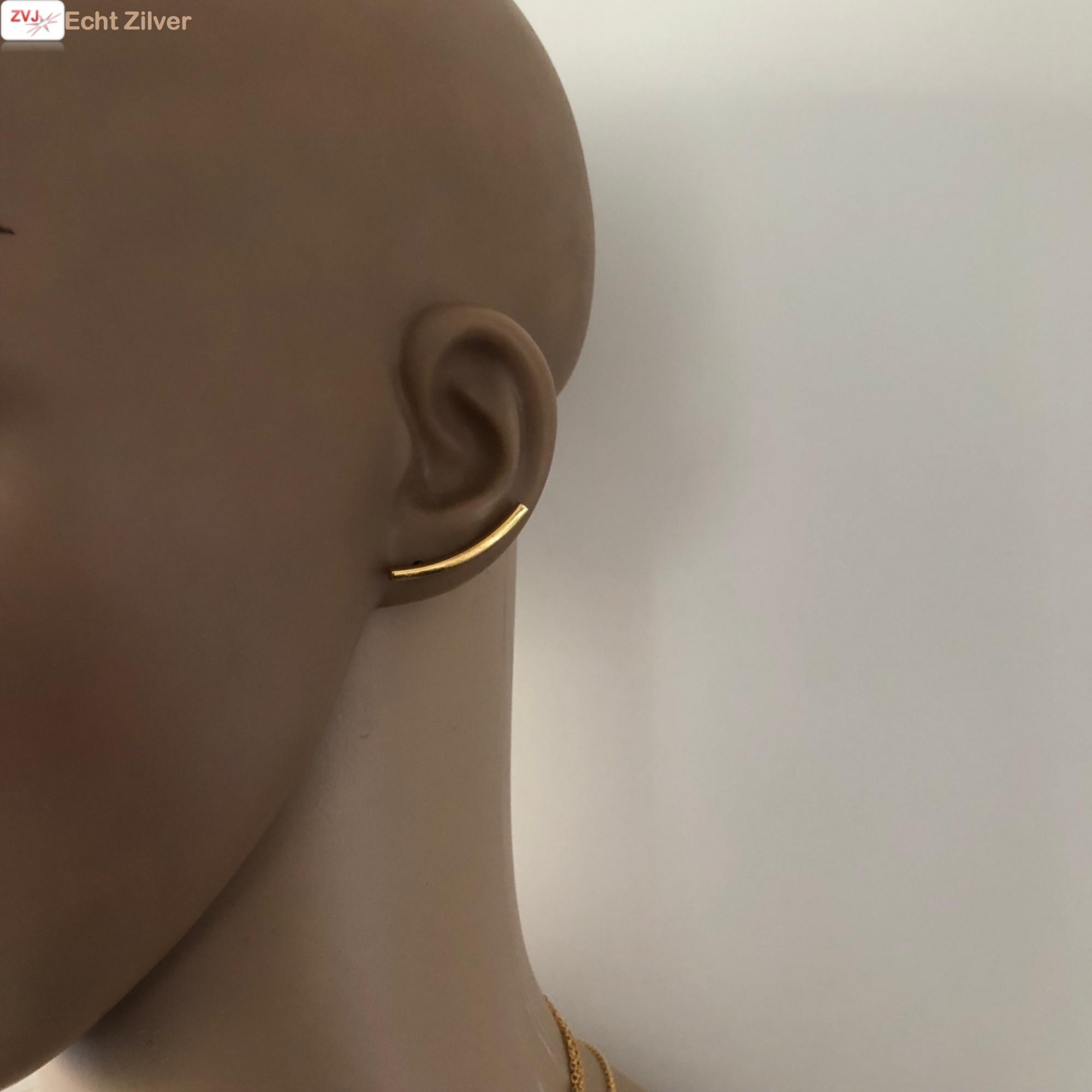 Goud op zilver strakke ear cuff oorklimmers-2