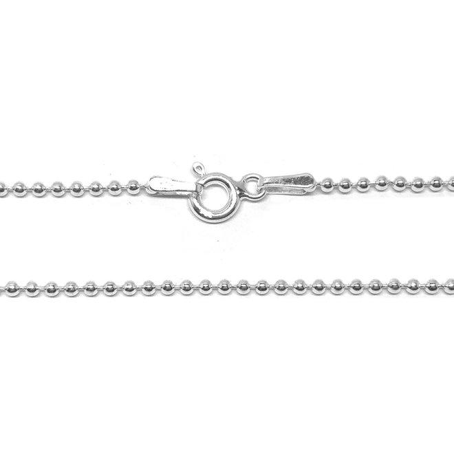Zilveren bolletjes ketting 40 cm 1,5 mm breed