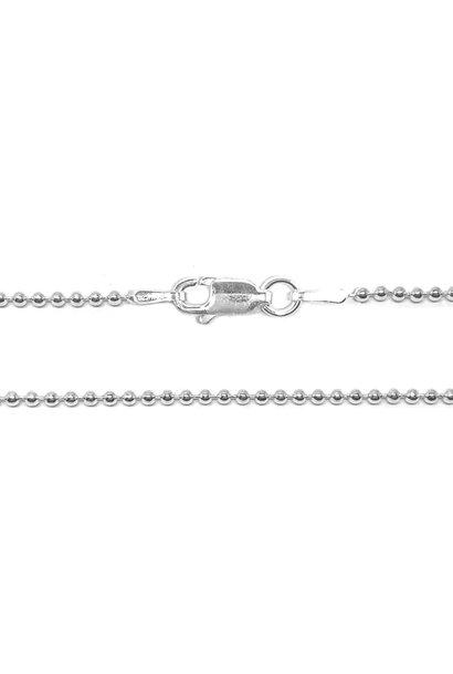 Zilveren bolletjes ketting 50 cm 1,5 mm breed