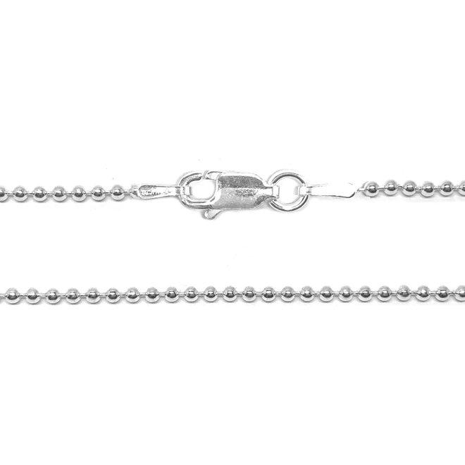 Zilveren bolletjes - balletjes ketting 50  cm 1,5 mm breed