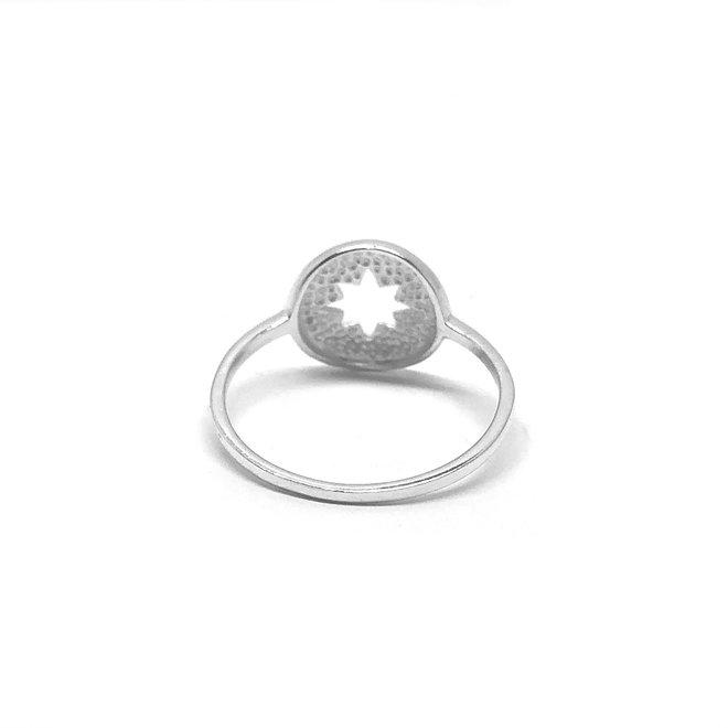 Zilveren ring met open kompas