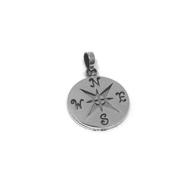 Zilveren windroos kompas hangertje